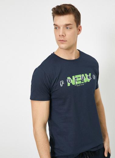 Koton Yazılı Baskılı T-Shirt Lacivert